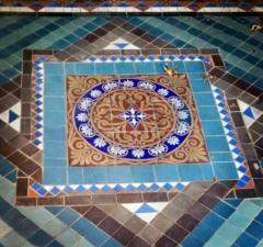 Original tile porch welcomes visitors